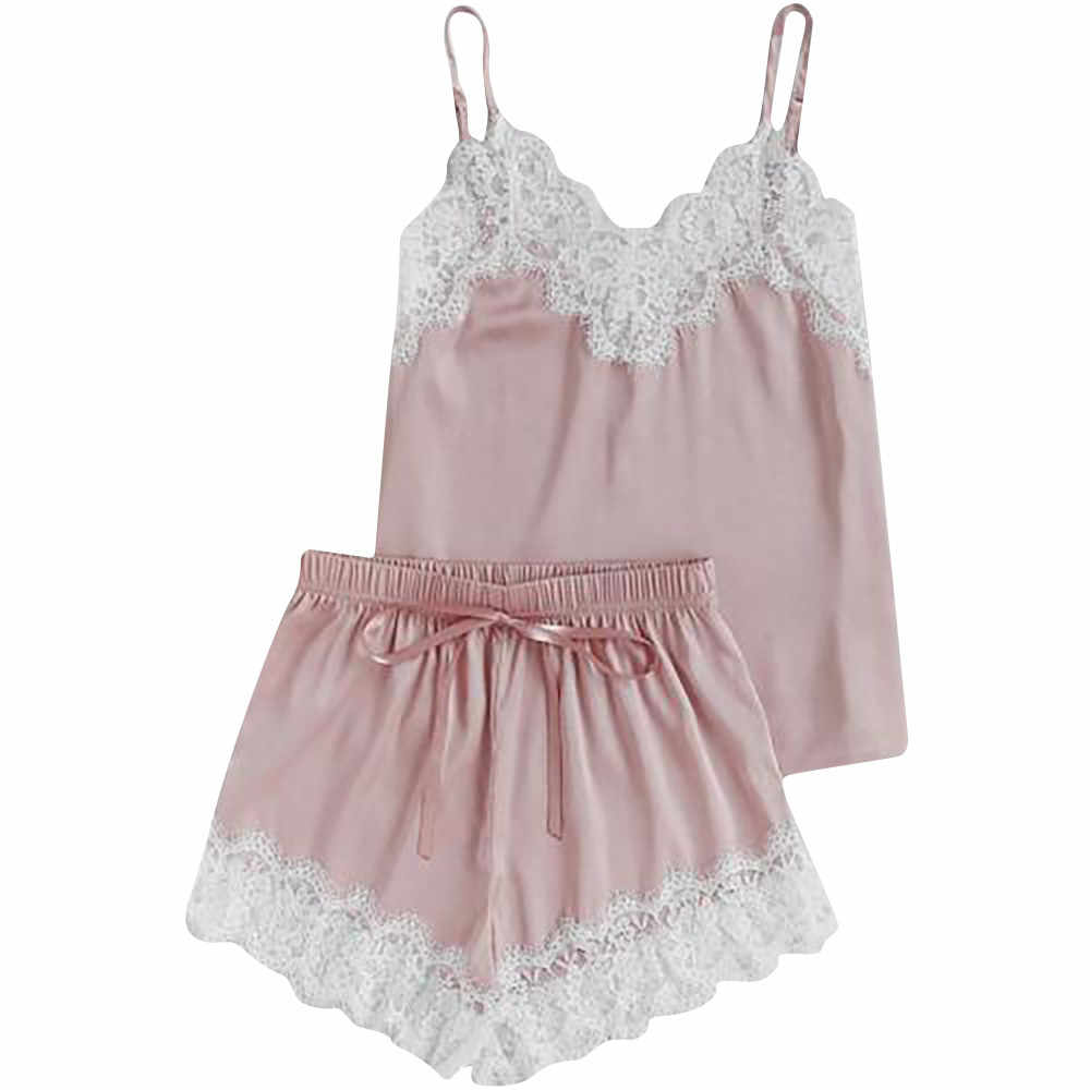 3e5562bec9a6 ... Women Sleepwear Sleeveless Strap Nightwear Lace Trim Satin Top Pajama  Sets solid sleeveless sexy ladies lingerie ...