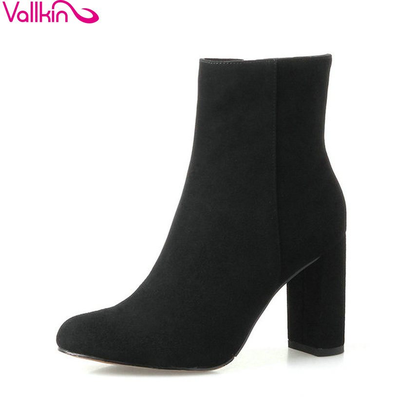 VALLKIN 2018 Women Boots Out Door PU Lining Square High Heel Comfortable Chunky Ankle Boots Round Toe Ladies Boots Size 34-39 esveva 2018 women boots zippers black short plush pu lining pointed toe square high heels ankle boots ladies shoes size 34 39