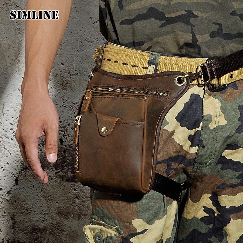 SIMLINE Vintage Casual 100% Genuine Leather Cowhide Men Belt Waist Bag Pack Packs Shoulder Messenger Crossbody Bags Phone Pouch simline 2017 vintage genuine crazy horse leather cowhide men men s messenger bag small shoulder crossbody bags handbags for man