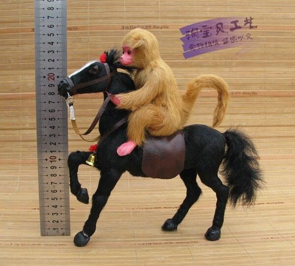 creative simulation black horse toy polyethylene furs horse monkey model doll gift about 23x7x26cm