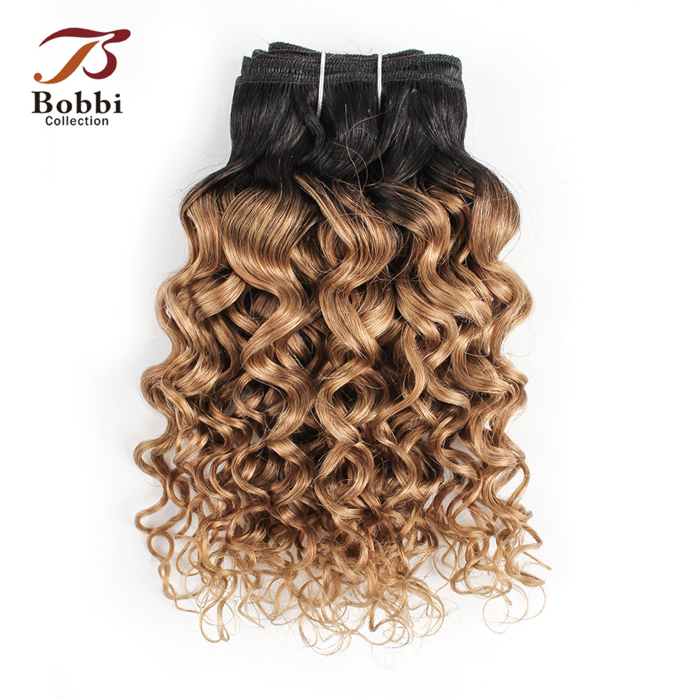 Bobbi Collection 1 Bundle T 1B 27 Ombre Honey Blonde Brazilian Water Wave Hair Weave 10-24 Inch Non Remy Human Hair Extension