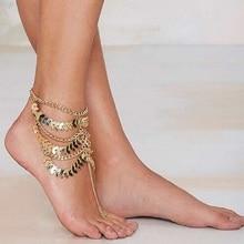 Мода кисточкой леди босиком пляж оставляет многослойных браслеты ножной браслет босиком сандалии женщин