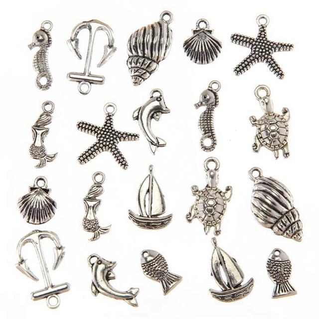 Ancient Silver Sea Seahorse Shell Fish Anchor Beach Mixed Charms 100pcs