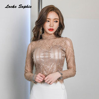 1pcs Ladies Plus Size Sexy Lace Blouses Tops 2018 Summer Fashion Lace Splicing Hollow Out Primer