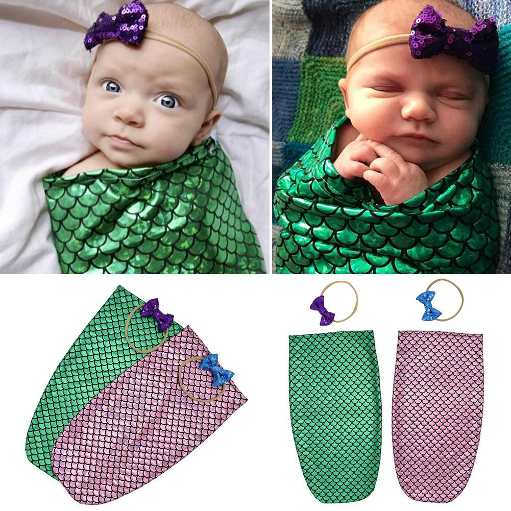 Newborn Baby Cocoon Sleeping Bag+Sequined Bowknot Hairband Soft Comfortable Cute Unique 0-2 Month