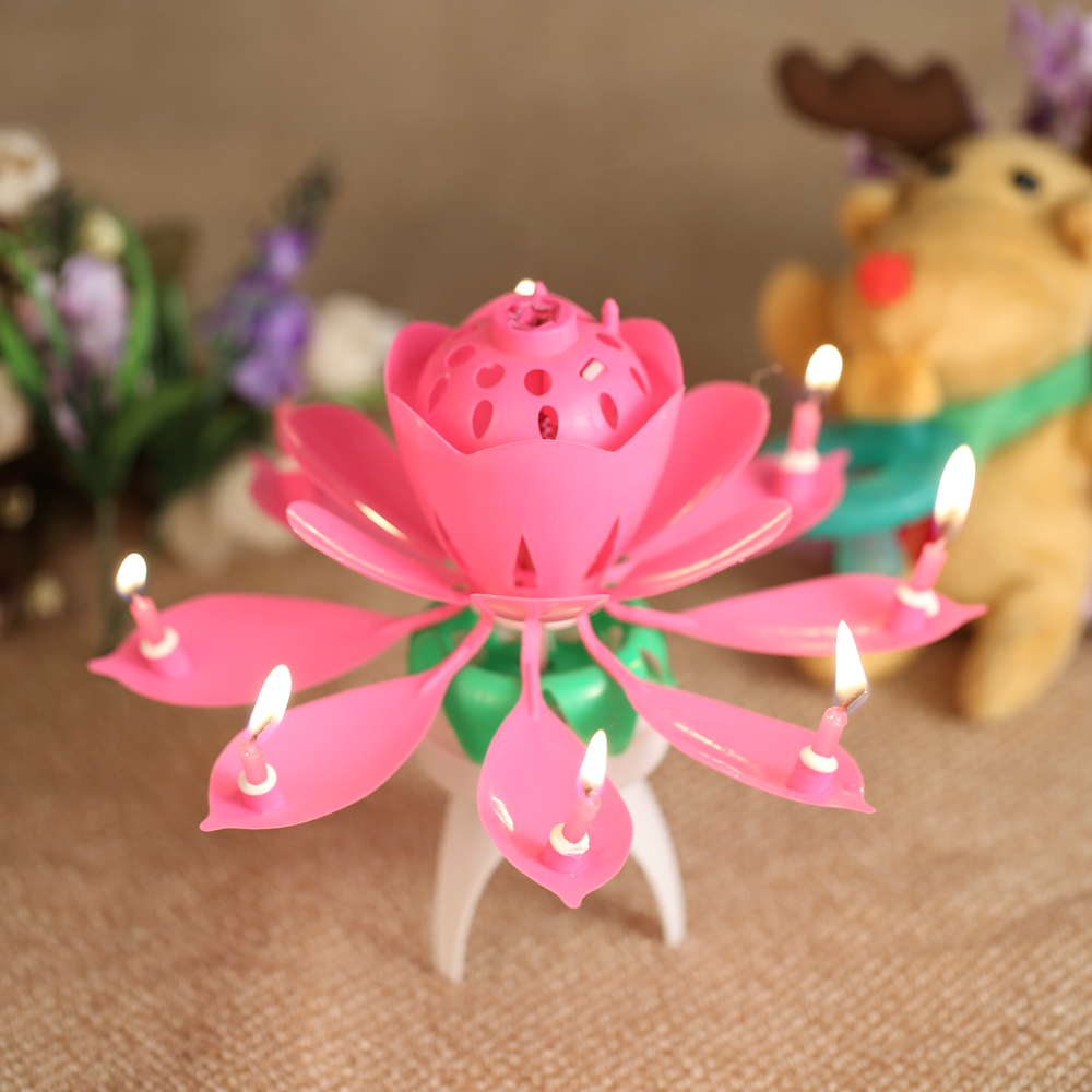 1pc birthday candle beautiful blossom lotus flower candle birthday 1pc birthday candle beautiful blossom lotus flower candle birthday party cake music sparkle cake topper rotating candles decor in cake decorating supplies izmirmasajfo