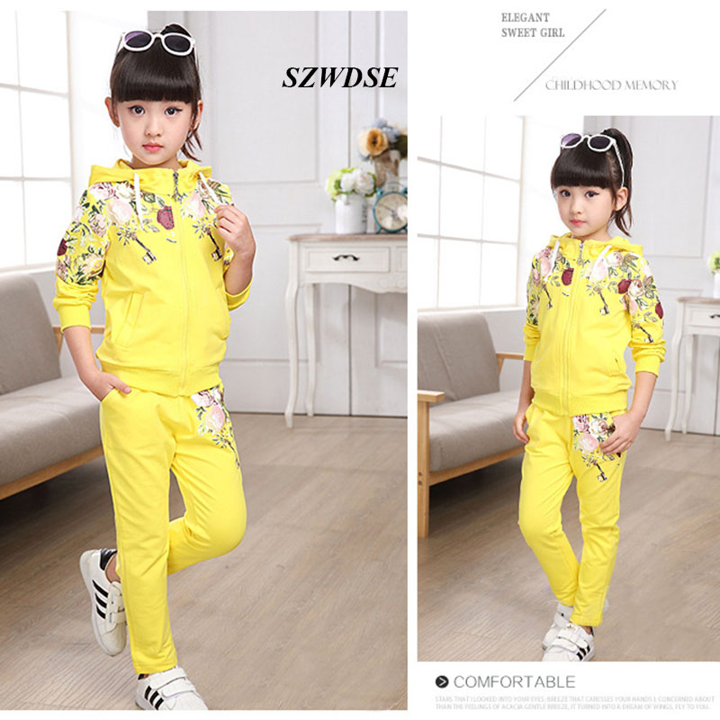 High Quality thicker Autumn Winter Hoodes Pants Two-pieces Suit Cotton Teenage Costume Girls Clothing Sets 5-13 years Children