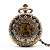 Marca superior antigo & vintage oco girassol branco dial relógio de bolso mecânico das mulheres dos homens com corrente fob pjx1176 Relógios de Bolso     -