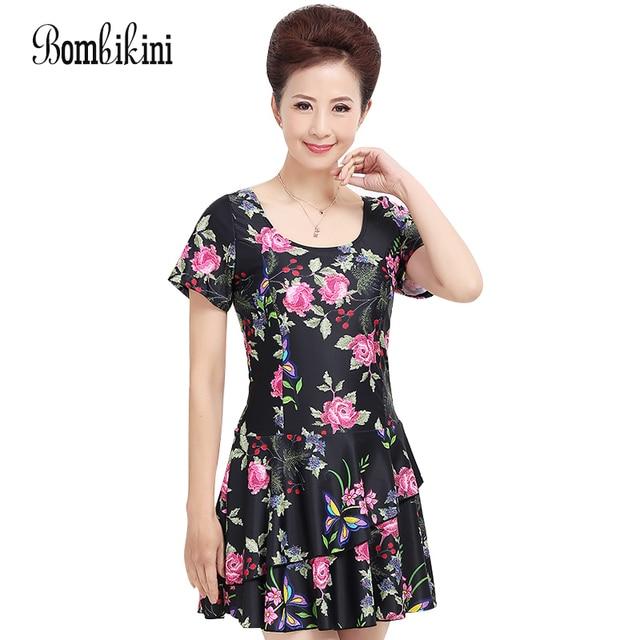 d678411eba Plus Size Swim Dress Ruffle Swimsuit Printed Swimwear Women Short Sleeve  Bathing Suit New Large Size