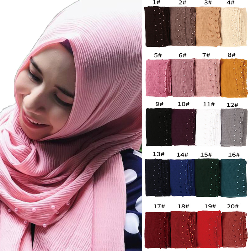 New Pearl   Scarves   big size crumple bubble chiffon solid crinkled shawls pleat headband hijab muslim   wraps     scarves  /  scarf