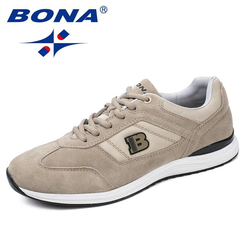 BONA/новый классический стиль мужские кроссовки на шнуровке мужская спортивная обувь уличные беговые кроссовки удобные легкие Быстрая беспл...