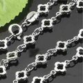 1pcs 45CM Length Chrome Color Flower Chains Lobster Clasp Hand Made Diy Jewelry Finding Making Accessories High Quanlity