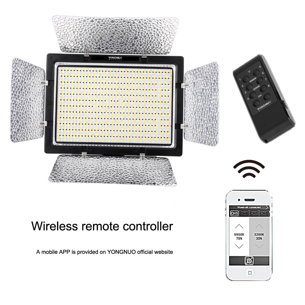 YONGNUO YN900 CRI 95 3200K 5500K Photographic Wireless LED Video Light Panel 7200LM 54W for Canon