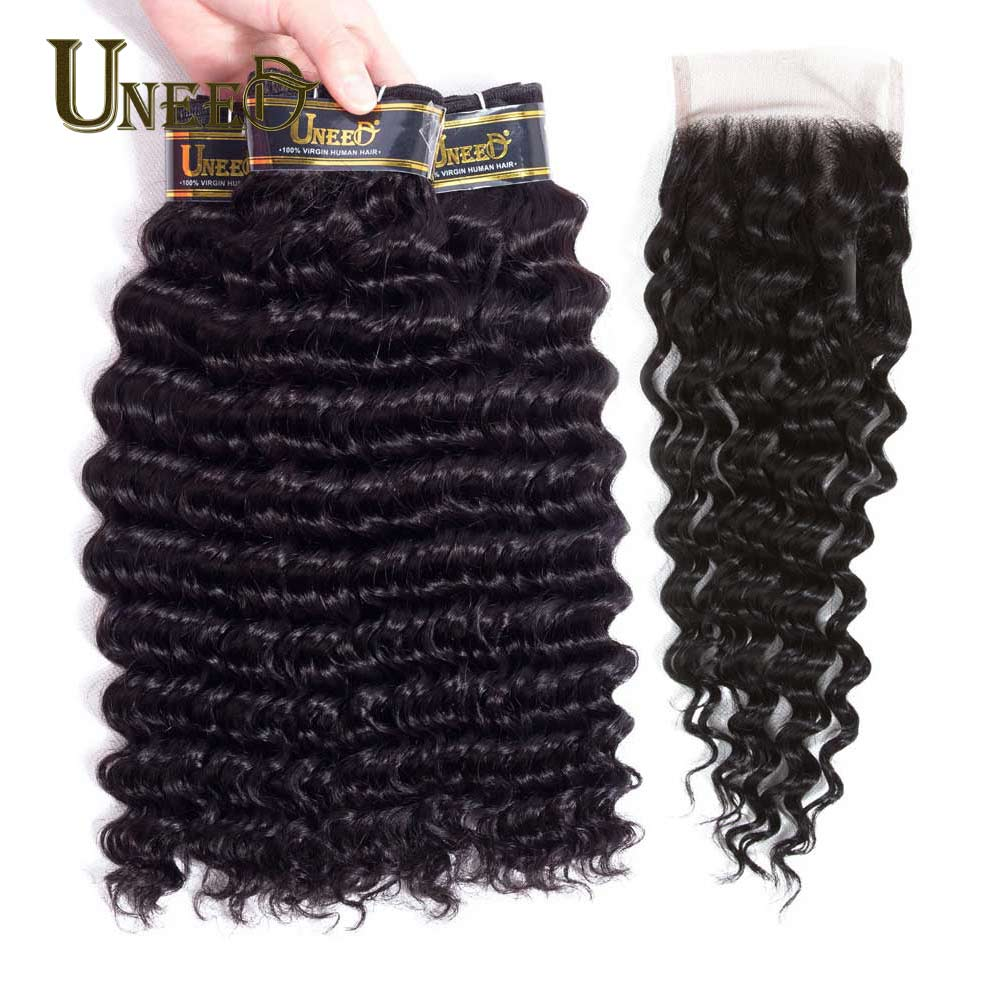 Uneed Hair Brazilian Deep Wave 3/4 Bundles With Closure Human Hair Hair Weave Remy Hair Extension Natural Color By Fast Shipping