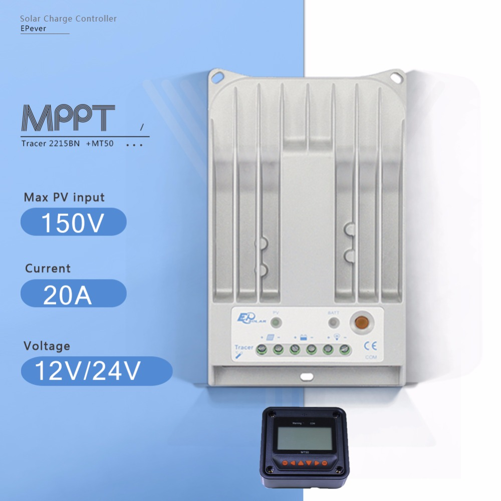 Tracer 2215B 20A MPPT Solar Panel Battery Charge Controller 12V 24V Auto Work Solar Charge Regulator with MPPT Remote Meter MT50 with white color mt50 remote meter epsolar pwm solar battery charger controller bluetooth function usb cable ls2024b 20a