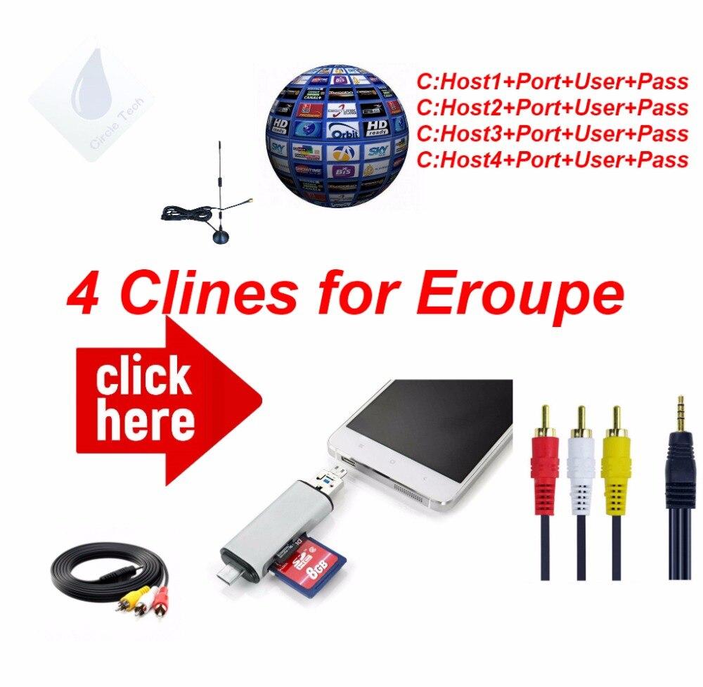 Freesat Cable AV Digital receptor de TV por satélite DVB-S/S2 HD AV Cable 1 año cccam 4 líneas Europa Alemania polonia España Reino Unido Francia
