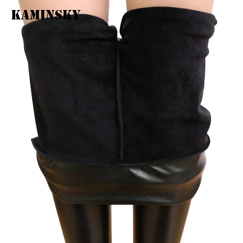 Kaminsky High Elastic Waist Black Leggings Not Crack Slim Warm Winter Leggings Fleece Trousers Women's Fashion PU Leather Pants
