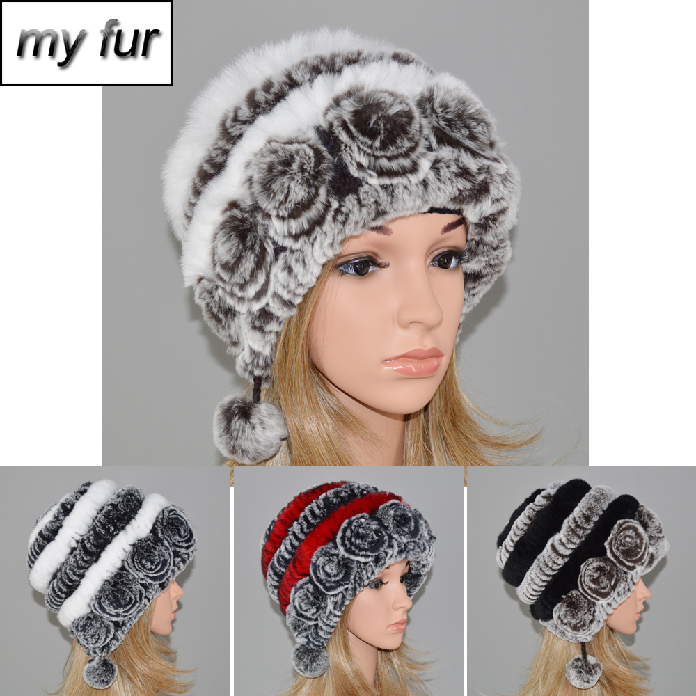 13bc85a2e2884 Hot Sale Winter Women Flowers Striped Natural Real Rex Rabbit Fur Hats Lady  Warm Knit Genuine