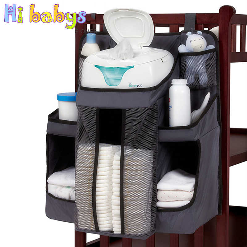 Baby Crib Bumper Hanging Storage Bag Bedside Organizer Bed Cradle Newborn Nursery Storage Pockets Diaper Bag Bedding Accessories