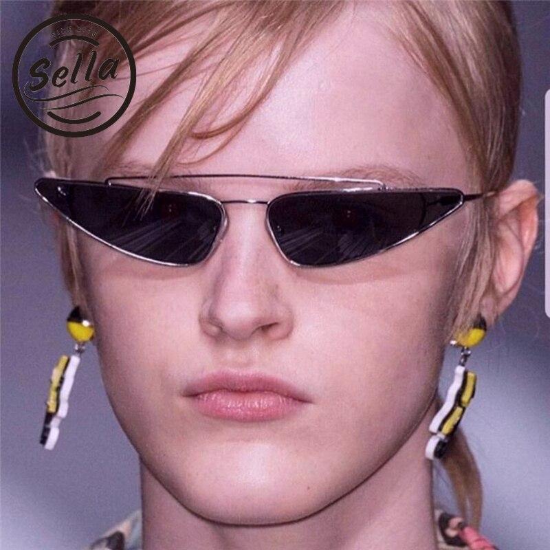 Sella New Fashion European Style Women Men Small Alloy Frame Water Drop Shape Sunglasses Unique Trend Narrow Cateye Sun Glasses