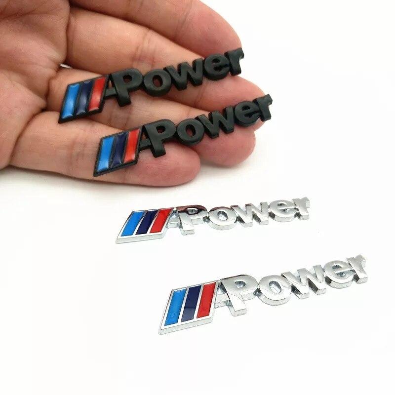 2PCS/set Power Motorsport Small Metal Logo Car Sticker Rear Trunk Emblem Grill Badge For BMW E46 E30 E34 E36 E39 E53 Car Styling