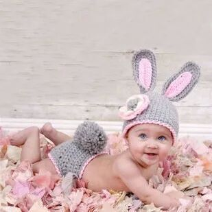 Rabbit Child Hat Photo Props Hat Hand Underpants Baby Photo Props Newborn Baby 0-6M Kids Hats