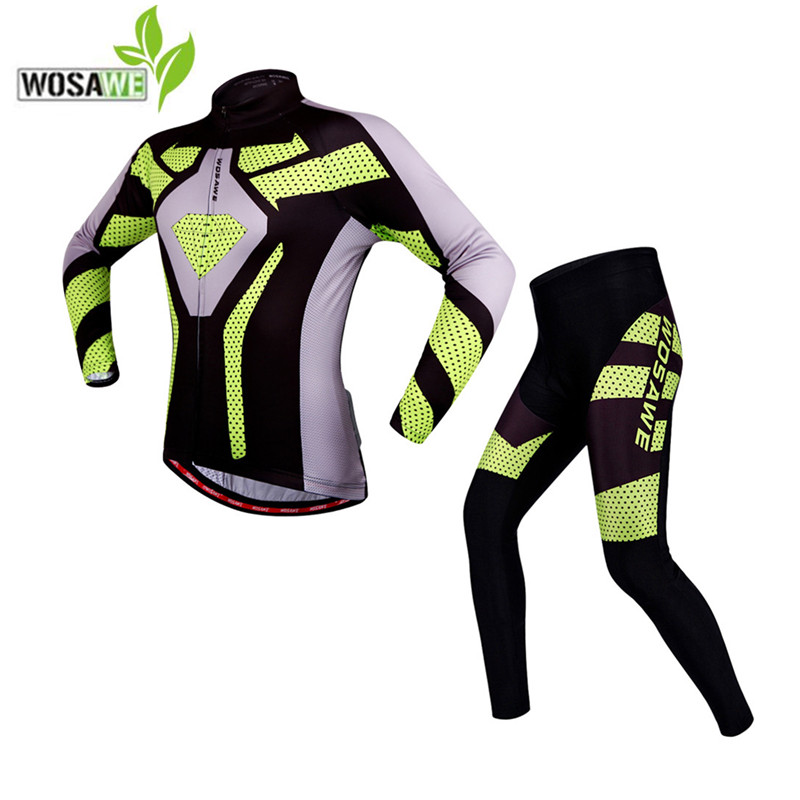 WOSAWE Cycling Jersey sets autumn Long sleeve men Bike clothing Bicycle Clothes 4D Gel Pad Sportswear Ropa Ciclismo riding set wosawe men long sleeve cycling jersey 4d gel padded tights