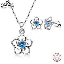 Rinntin Genuine 925 Sterling Silver Jewelry Sets for Women AAA Zircon Flower Necklaces Pendants Stud Earrings Jewelry Sets TSS22