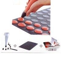 53 Gaten Siliconen Macaron Mat Fondant Cake Decorating Gereedschap Keuken Muffin Tray Bakken Bitterkoekje Mold Spuitzak Nozzles Kit Set