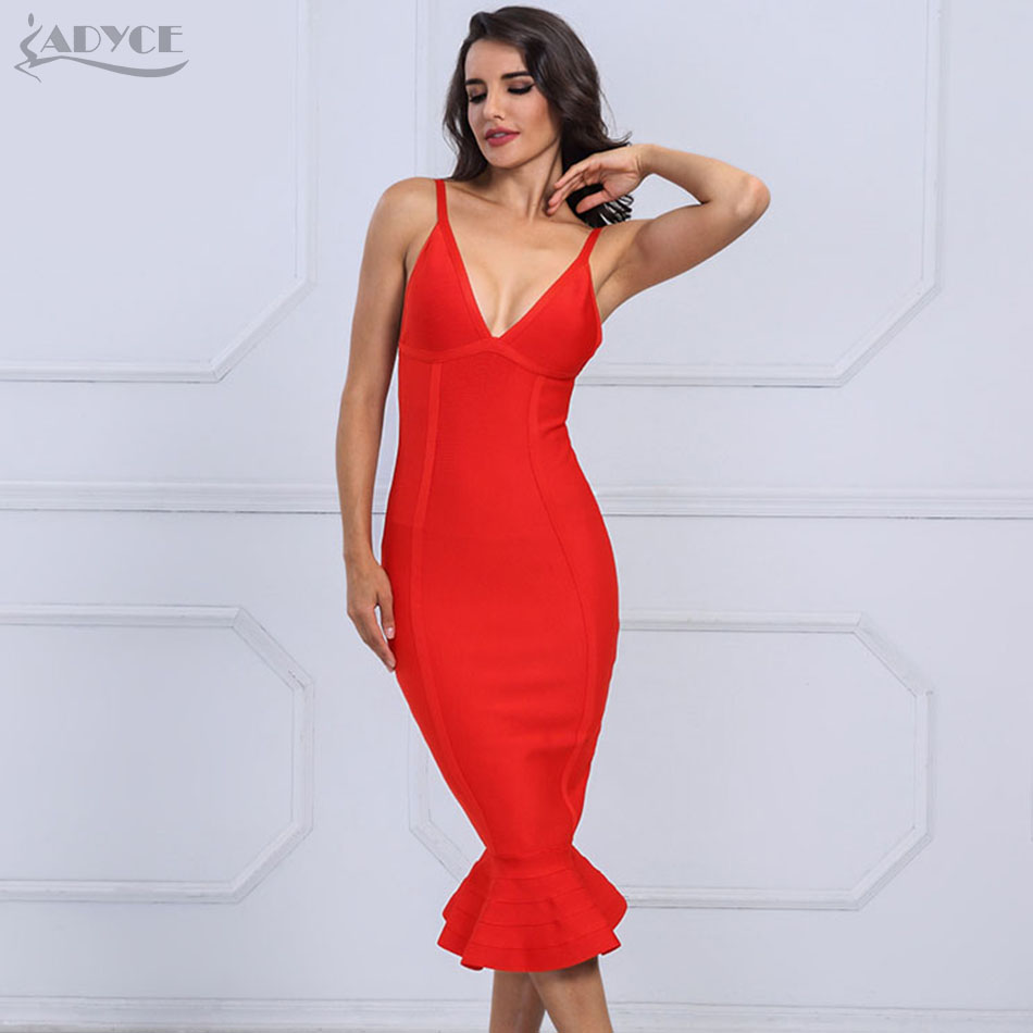 Adyce 2019 Summer Bandage Dress Women Sexy V-Neck Midi Mermaid Spaghetti Strap Club Dress Celebrity Evening Party Dress Vestidos