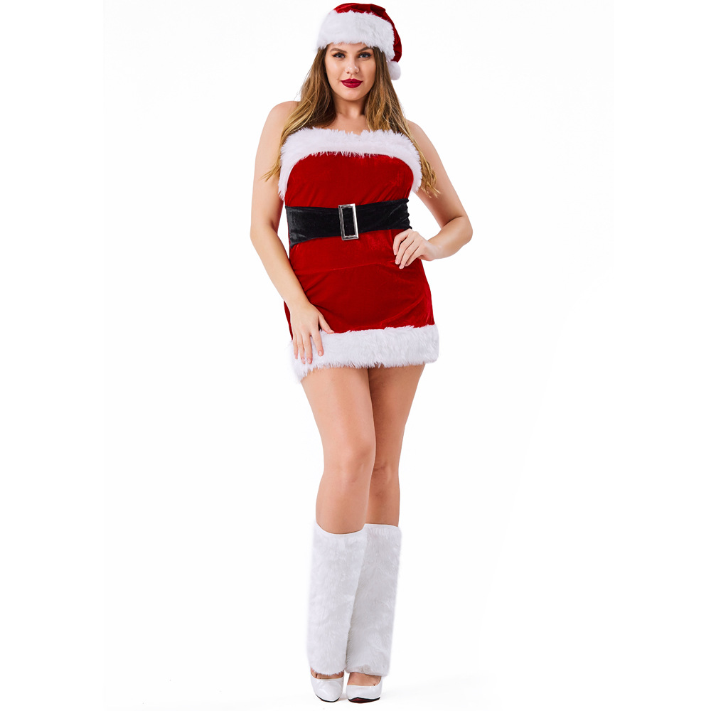 Velvet Red Tube Christmas Dress Costumes Suit Cosplay For Woman Christmas Party Cosplay Plus Size