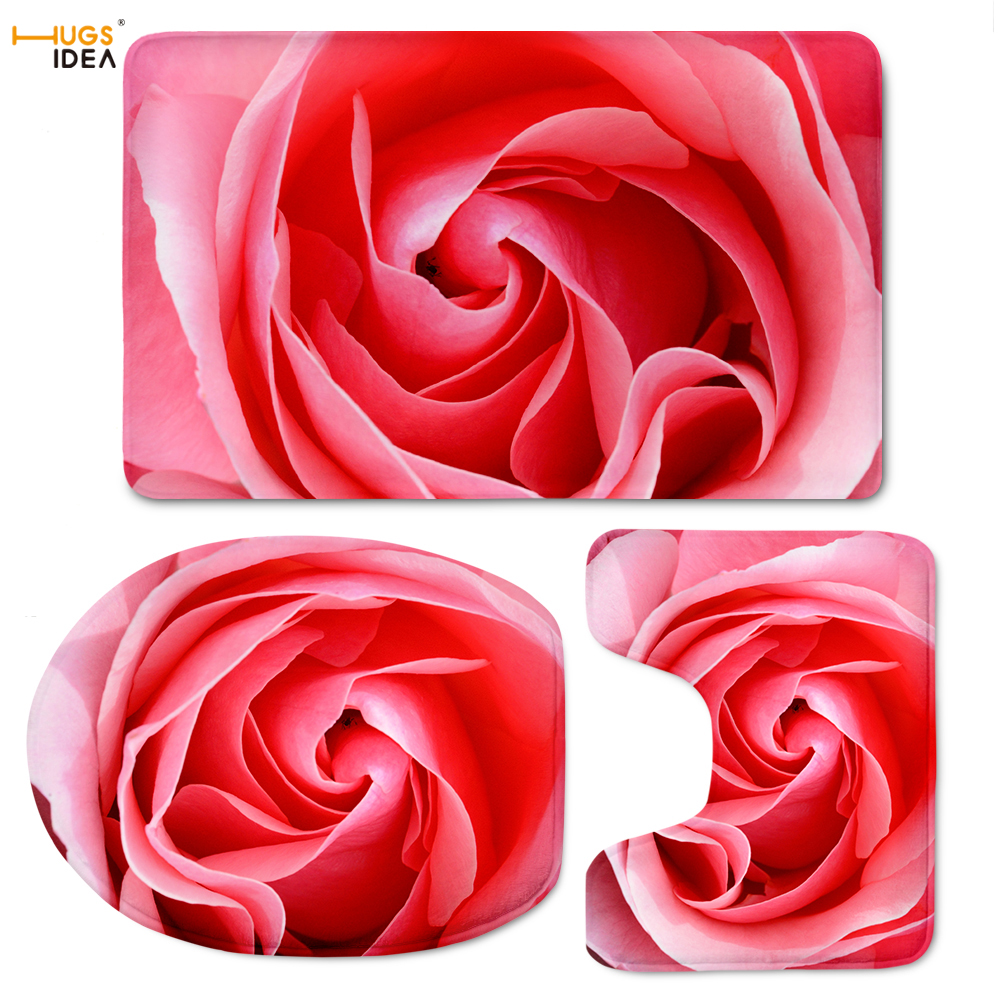 HUGSIDEA 3D Flowers Red  Rose Printing Toilet Seat Cover 3 piece Toilet Floor Contour Square Bathroom Pedestal Bath Accesseries|toilet seat cover|printed toilet seat|toilet seat - title=