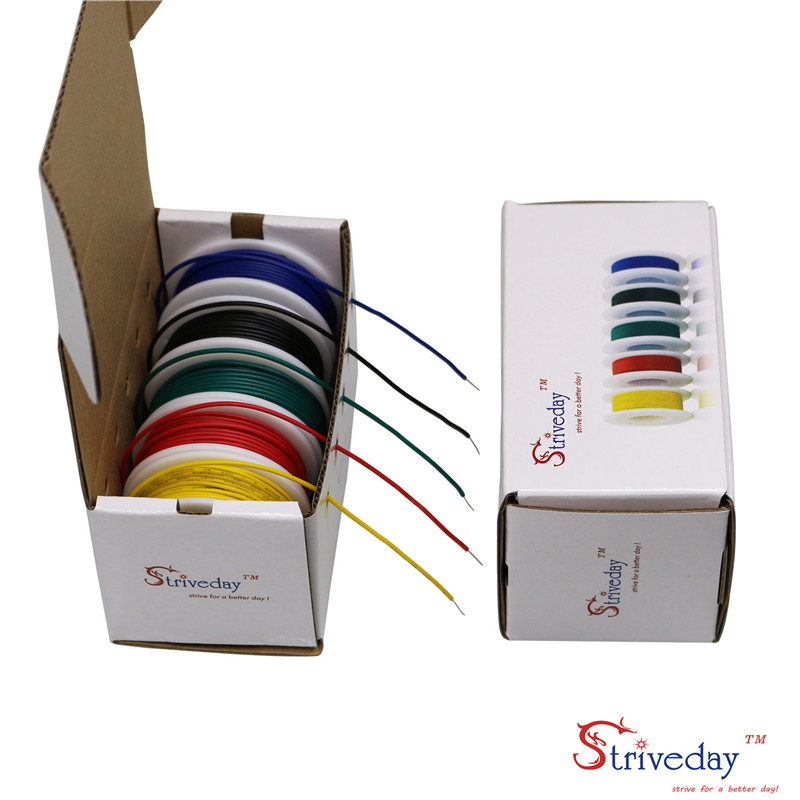 UL 1007 22AWG 40m/box Cable line PCB Wire Tinned copper 5 color Mix Solid Wires Kit Electrical Wire DIY