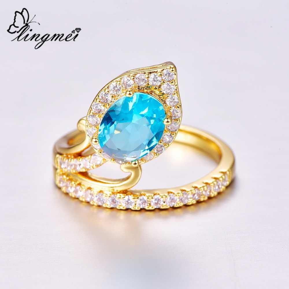 Lingmei หมั้นที่ไม่ซ้ำกันแฟชั่นเครื่องประดับรอบตัด Multicolor & White & Sea Blue Zircon Silver สี Yellow Gold แหวน