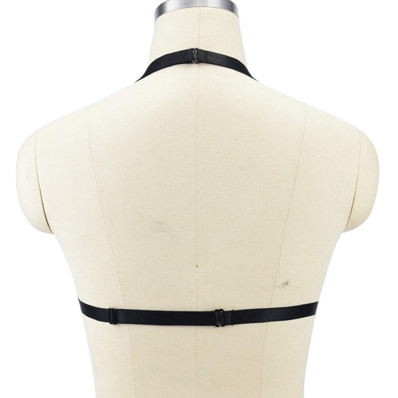 BLack Fetish Body Harness Wear Cage Bra Women Sexy Bondage Lingerie Handmade Cupless Body Harness Goth Crop Top Underwear in Garters from Underwear Sleepwears