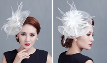In Stock,Retail high quality disc flower sinamay fascinator with feather for race & wedding 6 color ladies hair accessories hats