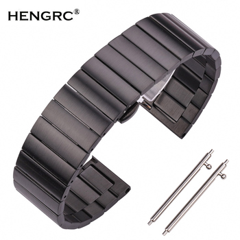 High Quality Stainless Steel Watchbands Bracelet 16mm 18mm 20mm 22mm Silver Black Metal Watch Band Strap Fit For Huawei Gear S3 high quality silver 18mm 20mm stainless steel watchbands strap bracelet for men women watches replacement with spring bars