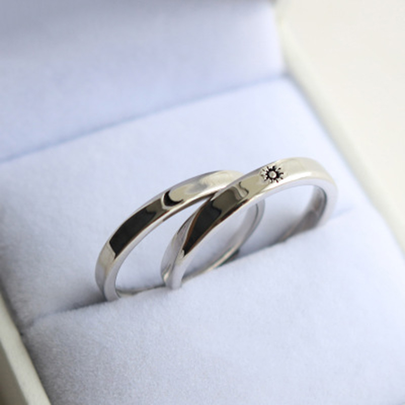 Qevila Fashion Silver color Ring Simple Style Moon Sun Love Adjustable Plate S925 Couple Rings For Girls Boy Best Friend Jewelry (4)