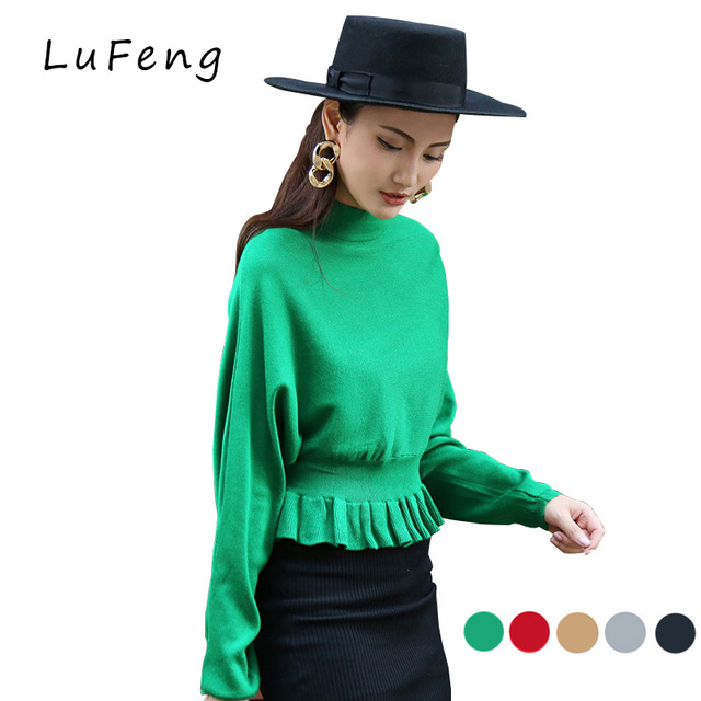 O-neck Ruffles Waist Pullovers Sweater Women Autumn Sueter Mujer Female Jumper knitted Shirt Peplum Tricot Fashion   B25-1302