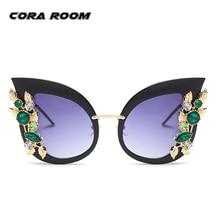 2017 de Gran Tamaño Del Ojo de Gato gafas de Sol de Las Mujeres Retro Vintage Diseñador de la Marca Gafas de Sol Para Mujer Espejo Shades Gafas de Cristal de Diamante