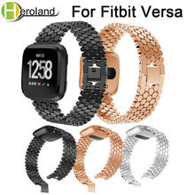 Stainless Steel watch band Strap For Fitbit Versa band WatchBands metal Replacement Smart bracelet new fashion Luxury wristband accessories stainless steel bracelet replacement watchbands for fitbit versa smart band metal strap wrist band with diamond new