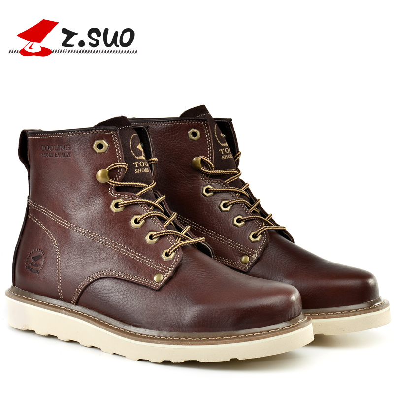 ФОТО 2016 Z.Suo new winter  fashion leather men's boots  men's shoes leather men's casual shoes  Martin Boots