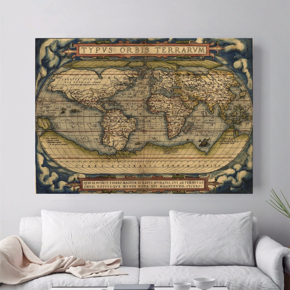 US $5.78 51% OFF Old School World Map Canvas Art Print Painting Poster Wall  Picture For Living Room Home Decorative Bedroom Decor No Frame-in Painting  ...