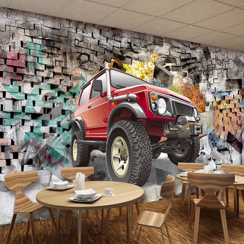 Custom Photo Wallpaper 3D Stereoscopic Car Broken Wall Retro Nostalgia Graffiti Art Bar Restaurant Backdrop Wall Mural Paintings custom poster photo wallpaper retro nostalgia 3d cartoon car graffiti mural wallpaper for living room tv backdrop wall paper