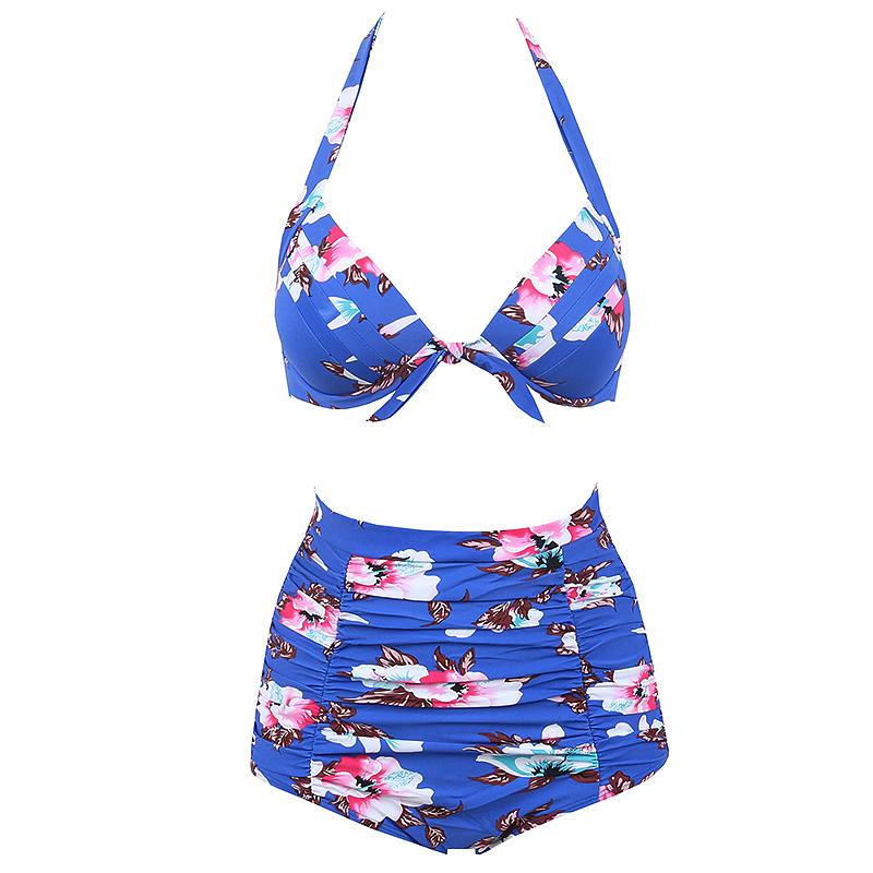 5b558c859c 2018 New Retro Bikinis High Waist Swimsuit Female Swimwear Women Plus Size  Bikini Set Bathing Suits Printed Floral Biquini