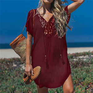 Image 3 - Fanbety  Plus size Tassels Beach Wear dress Women Swimsuit Cover Up Bathing  Summer Mini Dress Loose Solid Pareo Cover up dress