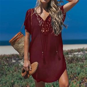 Image 3 - Fanbety בתוספת גודל גדילים חוף ללבוש שמלת נשים בגד ים לחפות הרחצה קיץ מיני שמלת Loose מוצק Pareo לחפות שמלה