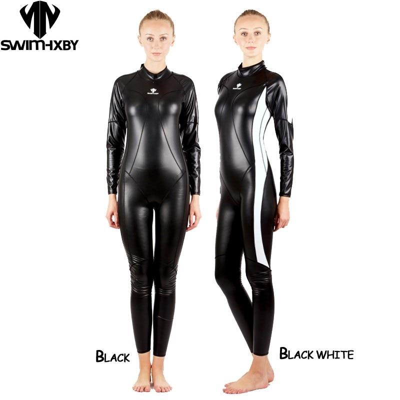 HXBY Full Body PU Waterproof One Piece Suits Swimwear Women Men Long Sleeve Competitive Swimming Swimsuit