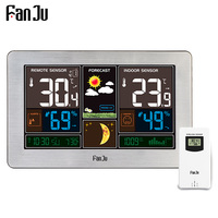 FanJu FJ3378Y Weather Station Temperature Humidity Wireless Sensor Indoor Outdoor Hygrometer Moon Phase Wall Barometer Forecast