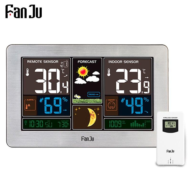 FanJu FJ3378Y Station Météo Température Humidité Sans Fil Intérieur Extérieur Hygromètre USB Charge Mur Baromètre Prévisions